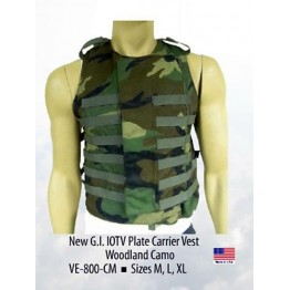 G.I. IOTV PLATE CARRIER VEST WOODLAND CAMO SIZE EXTRA LARGE  #VECM-XL