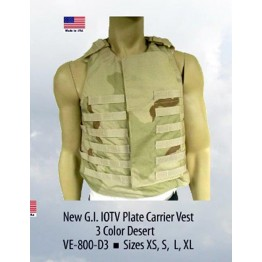 G.I. IOTV PLATE CARRIER VEST 3 COLOR DESERT SIZE EXTRA LARGE  #VED3-XL